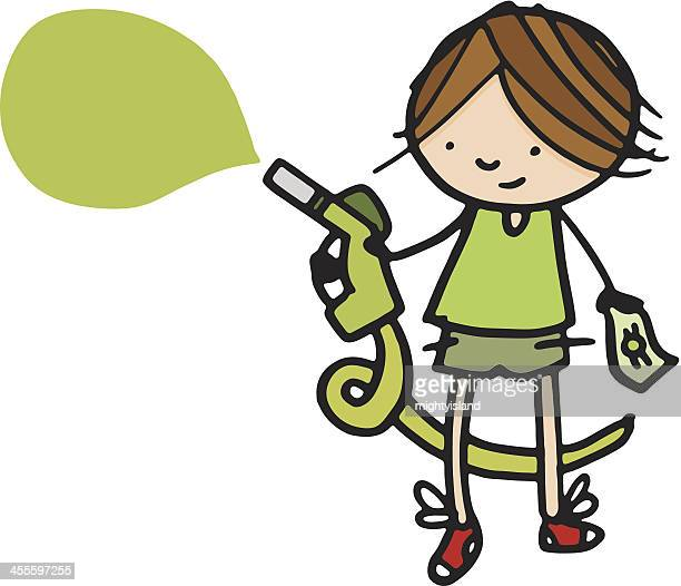 boy with gas pump and money speech bubble - gas prices stock illustrations, clip art, cartoons, & icons