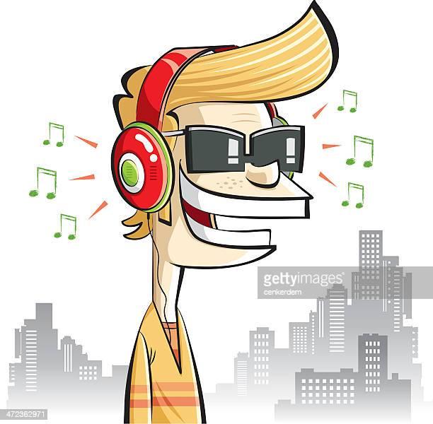 boy with headphones - bass instrument stock illustrations, clip art, cartoons, & icons