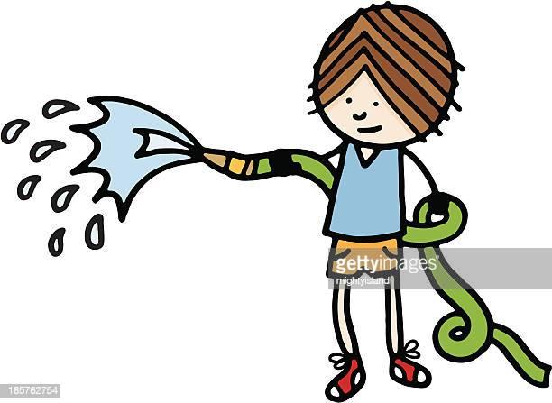 少年、ホースパイプと水 - 水の無駄遣い点のイラスト素材/クリップアート素材/マンガ素材/アイコン素材