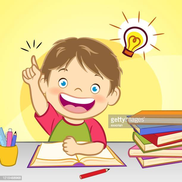boy with idea light bulb - exercise book stock illustrations