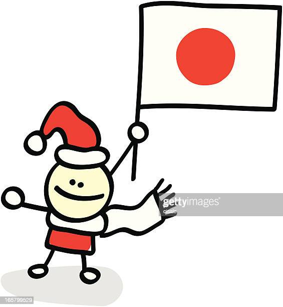 boy with japan flag cartoon illustration - only japanese stock illustrations, clip art, cartoons, & icons