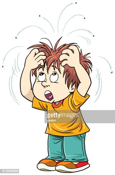 boy with lice - infestation stock illustrations, clip art, cartoons, & icons