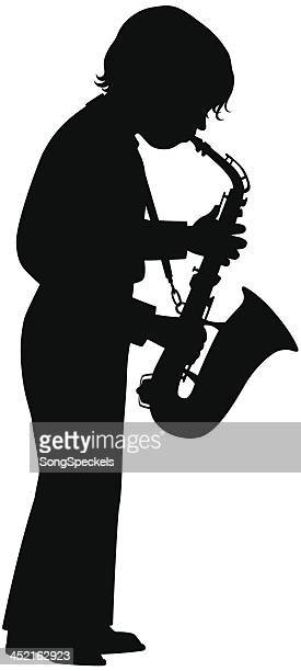 boy with saxophone - saxaphone stock illustrations, clip art, cartoons, & icons