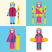 Boy with skis and snowboards. Set of vector illustrations