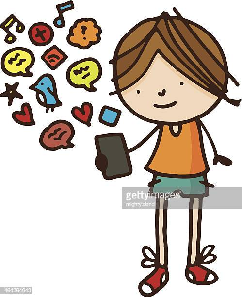Boy with smart phone and social media icons