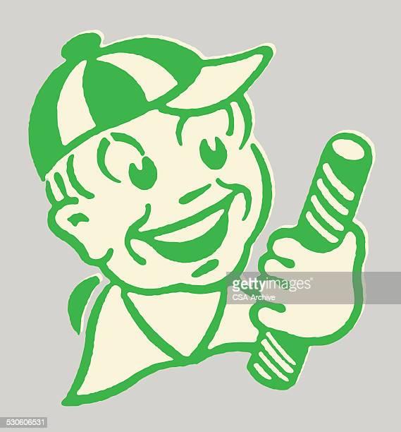 ilustraciones, imágenes clip art, dibujos animados e iconos de stock de niño con palo de caramelo - gracias por su atencion