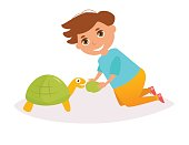 Boy with the turtle. Vector