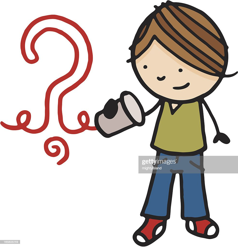Boy With Tin Can Phone And Curly Wire Vector Art | Getty Images