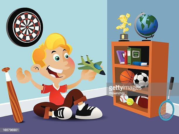 boy with toy jet - domestic room stock illustrations
