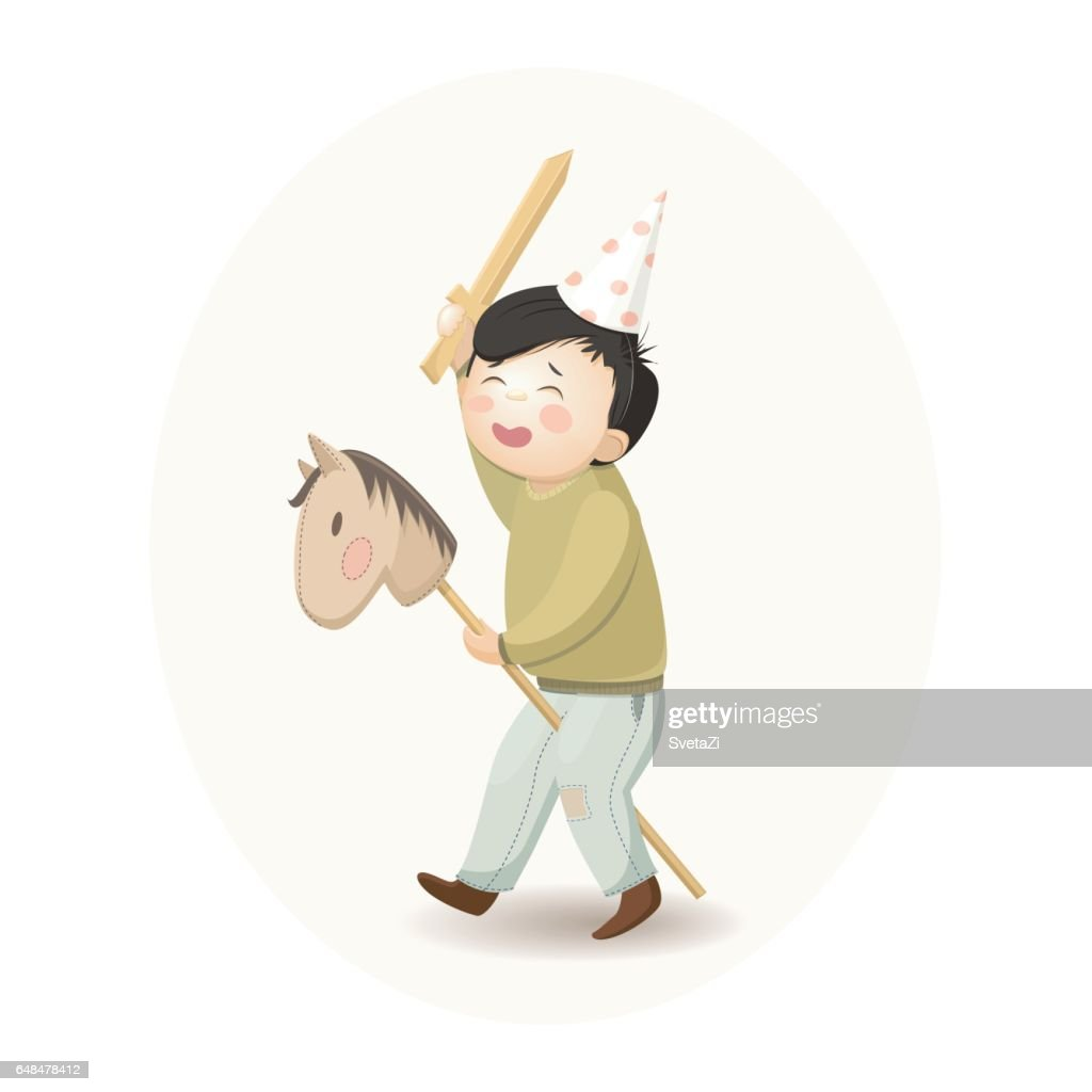boy with wooden sword