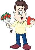 Boyfriend with flowers