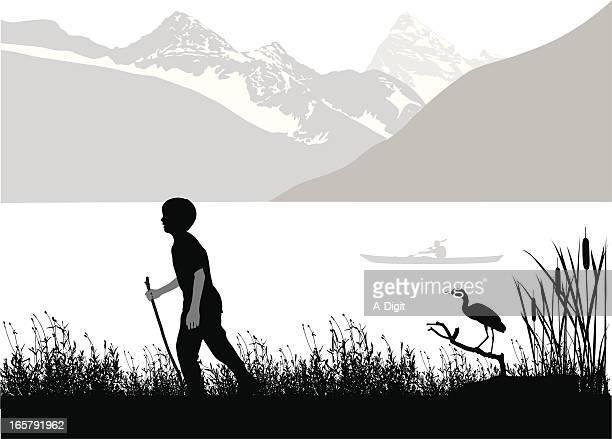 boyhood vector silhouette - water bird stock illustrations
