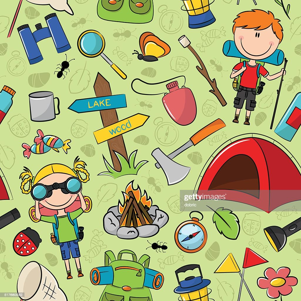 Boys and Gils Scouts with travel's tools vector seamless pattern