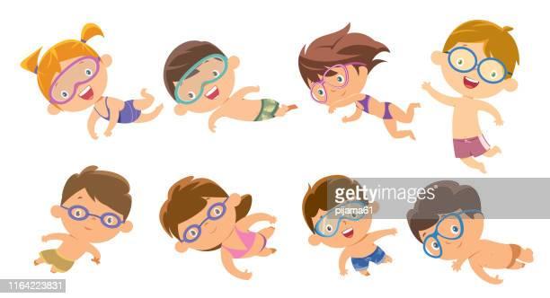 jungen und mädchen tauchen - schwimmen stock-grafiken, -clipart, -cartoons und -symbole