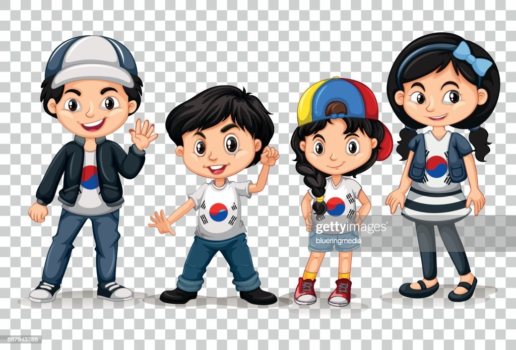 Boys and girls from South Korea