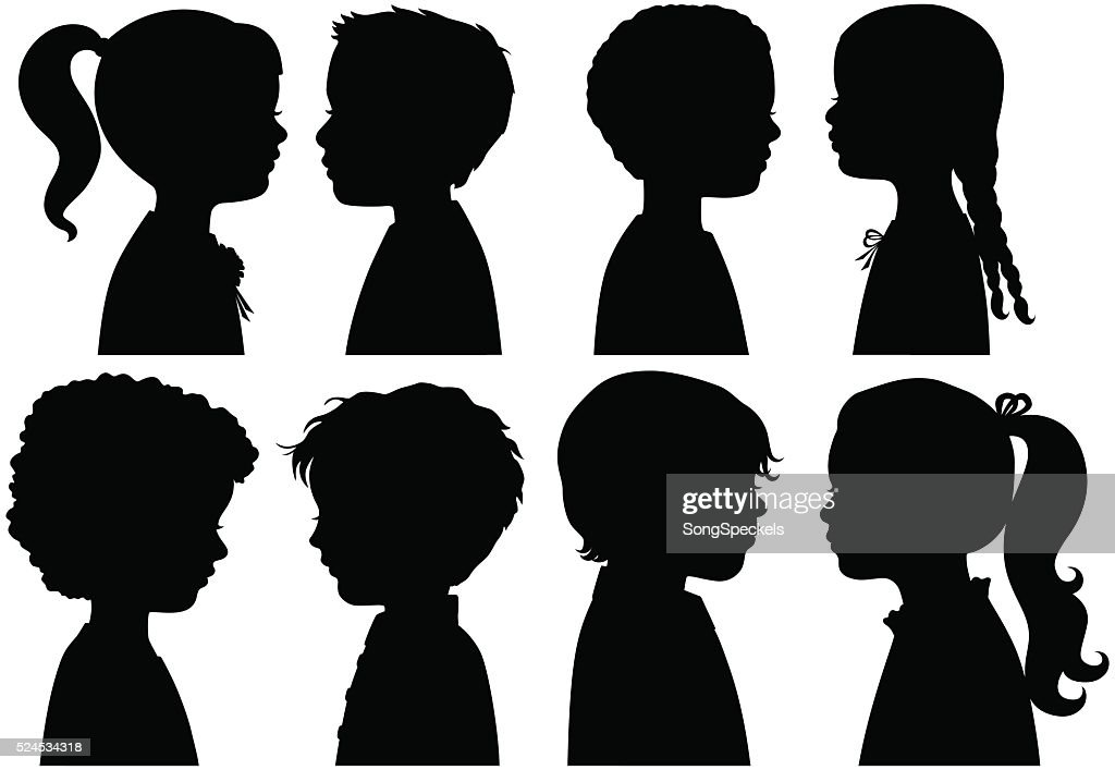 Boys and Girls in Silhouette : Stock Illustration