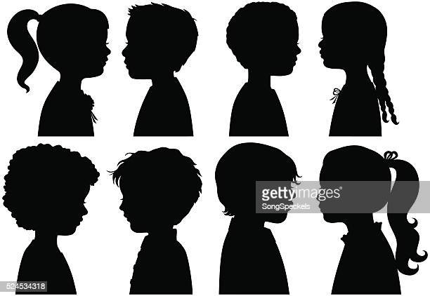 boys and girls in silhouette - side view stock illustrations