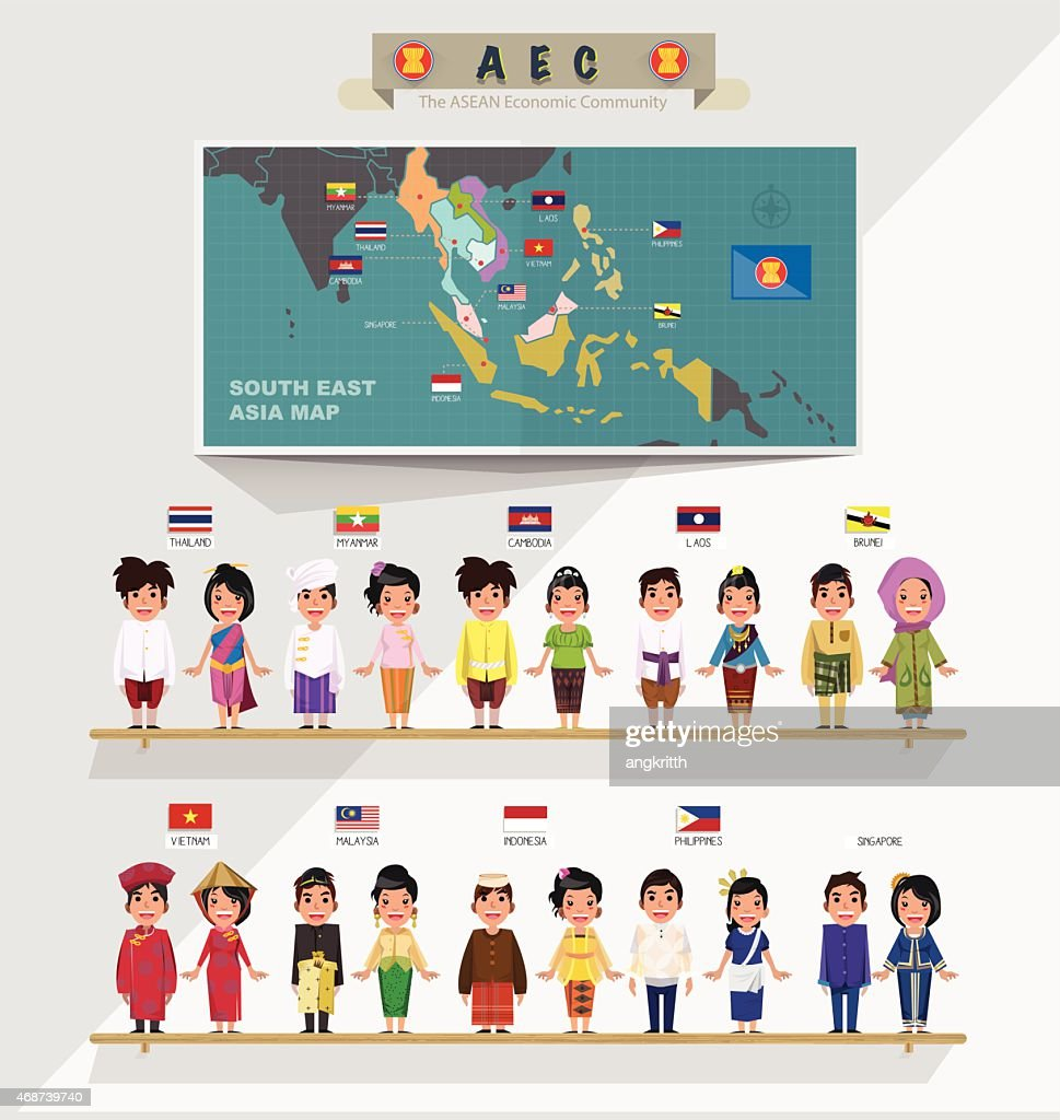 ASEAN boys and girls in traditional costume with map