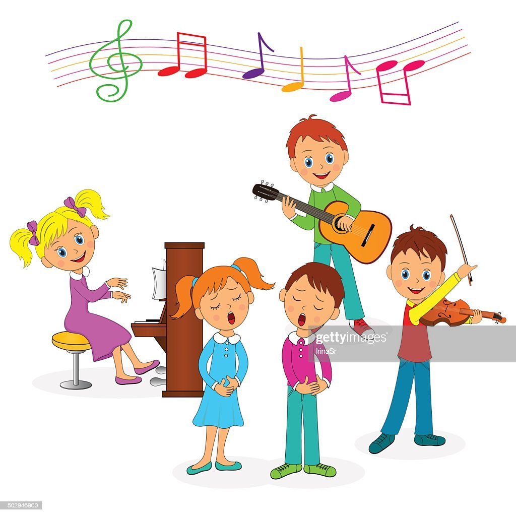 boys and girls  play music and sing