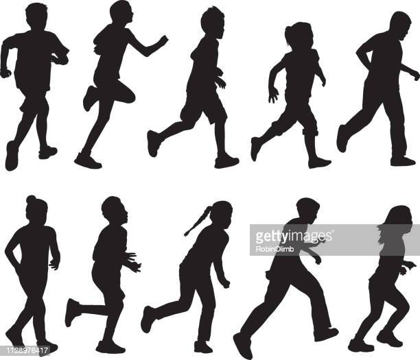 boys and girls running - 8 9 years stock illustrations, clip art, cartoons, & icons