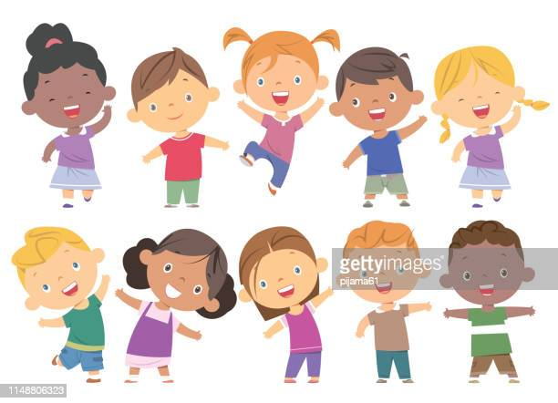 boys and girls set - child stock illustrations