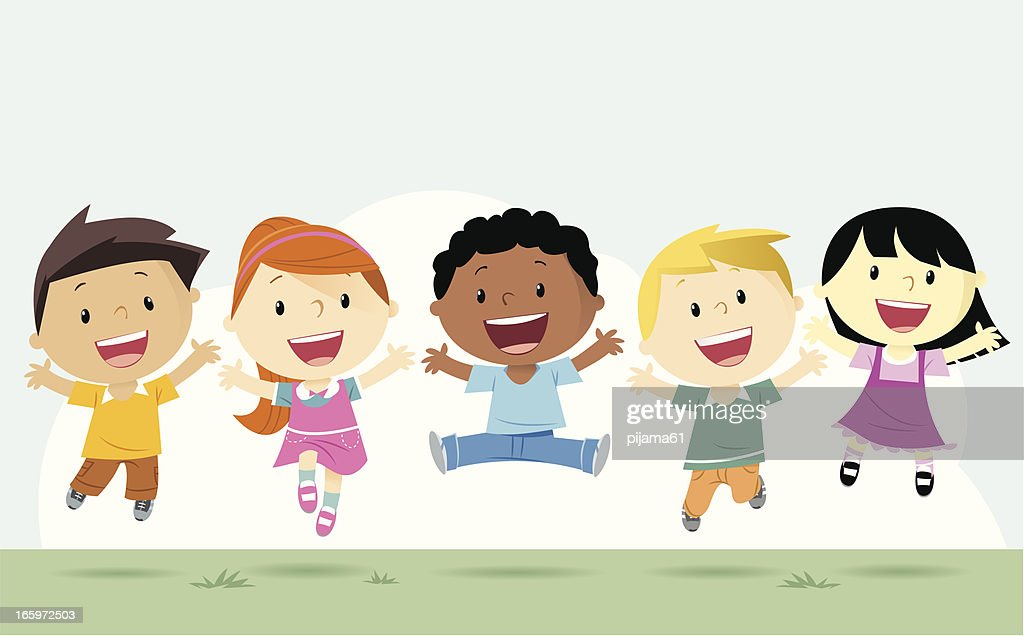 Boys and girls : stock illustration