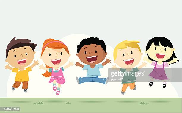 boys and girls - smiling stock illustrations