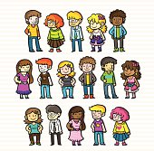 Boys and Girls with different clothes and colors