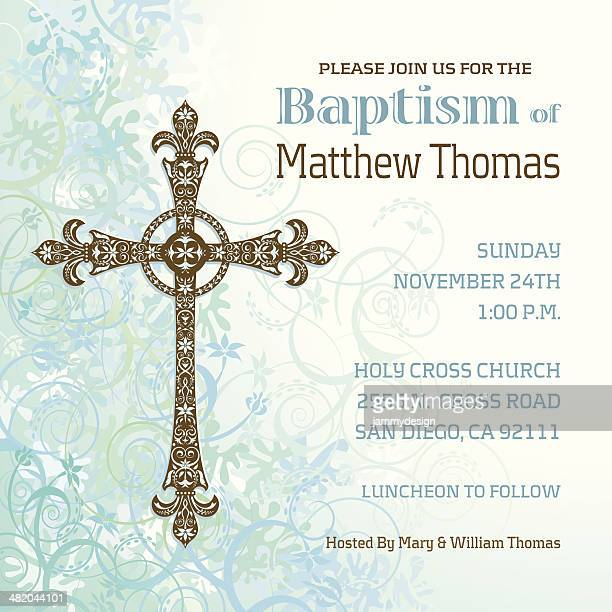boys baptism invitation - catholicism stock illustrations