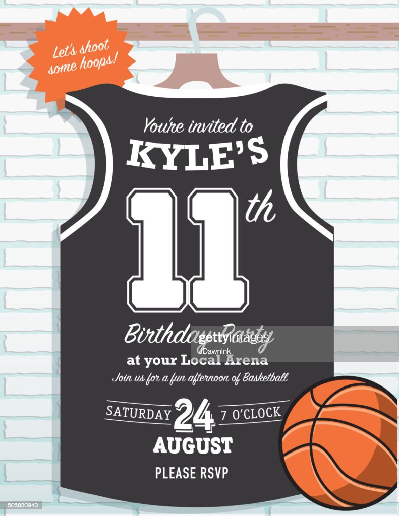 Boys birthday party basketball jersey themed invitation design boys birthday party basketball jersey themed invitation design vector illustration stopboris Gallery