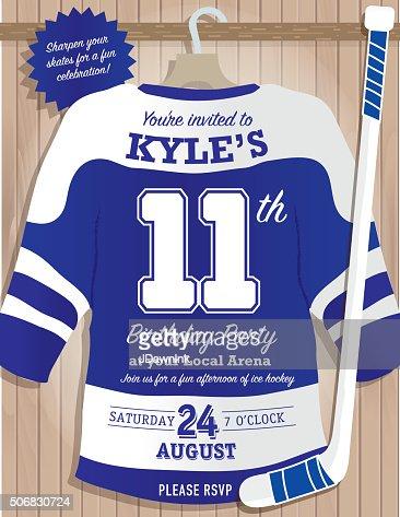 Boys Birthday Party Hockey Jersey Themed Invitation Design ...