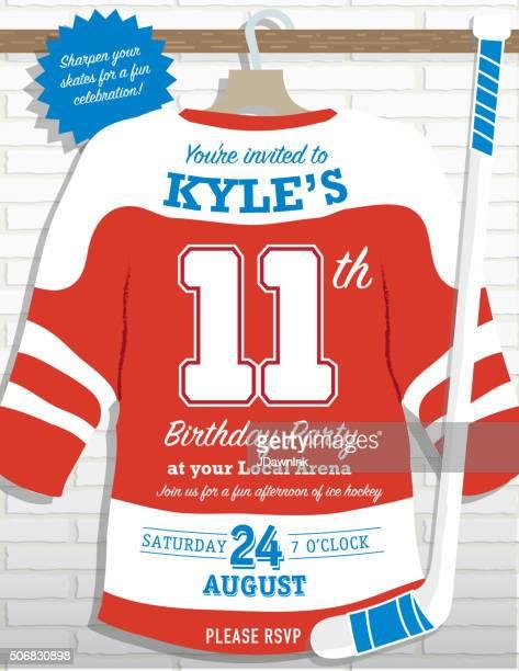 boys birthday party hockey jersey themed invitation design - ice hockey uniform stock illustrations