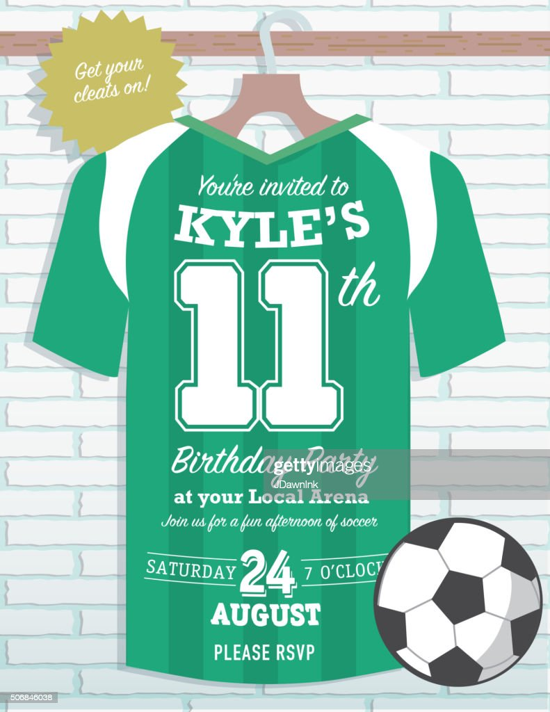Boys Birthday Party Soccer Jersey Themed Invitation Design Vector