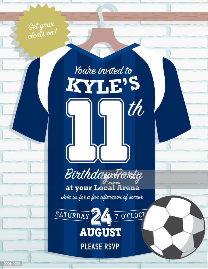 Boys Birthday party soccer jersey themed invitation design : stock illustration