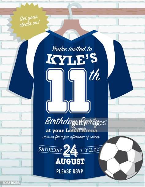 Boys Birthday party soccer jersey themed invitation design