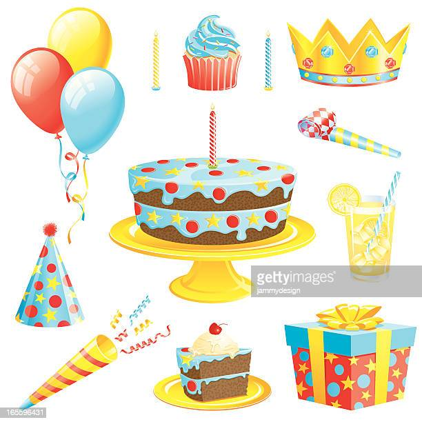 boys birthday set - party blower stock illustrations