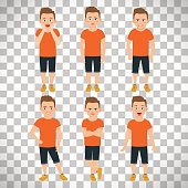 Boys different emotions on transparent background