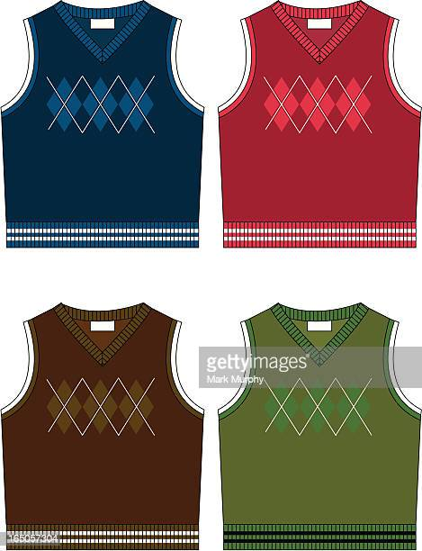 boys knitted argyle sleeveless sweater - sweater stock illustrations, clip art, cartoons, & icons
