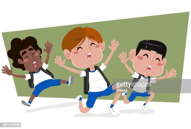 ilustrações, clipart, desenhos animados e ícones de rapazes em férias escolares para se divertir - escola