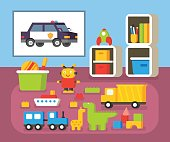 Boys room kindergarten. Nursery interioir. Flat design vector illustration
