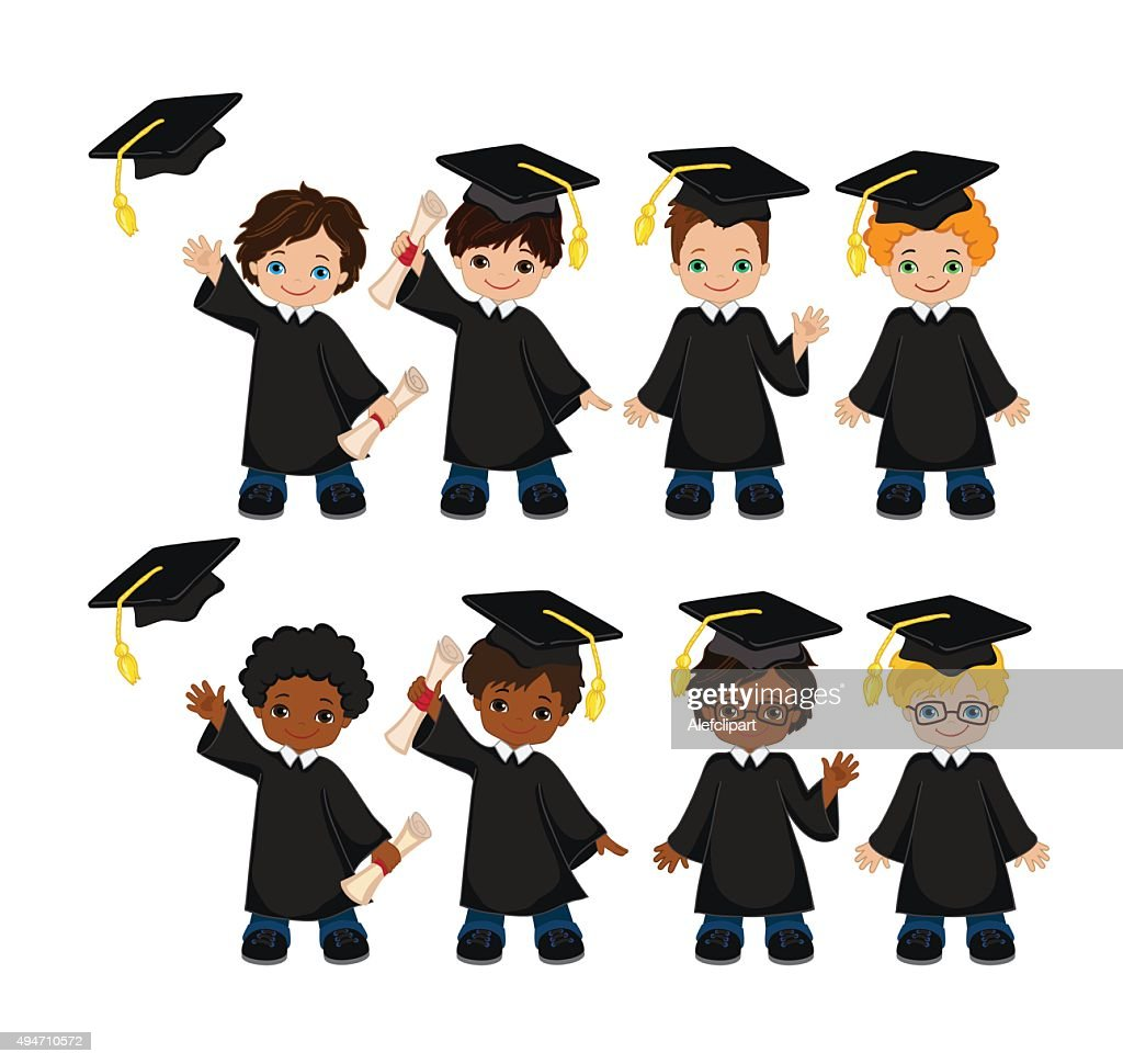 Boys Set Of Children In A Graduation Gown And Mortarboard Vector Art ...