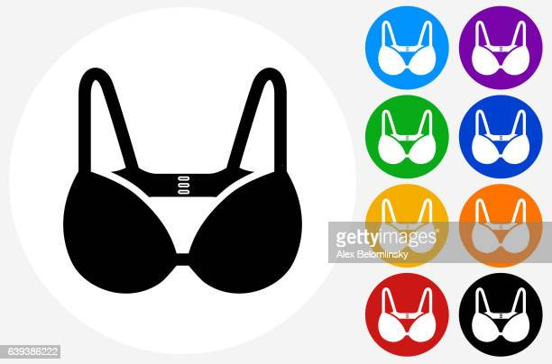 bra icon on flat color circle buttons - bra stock illustrations, clip art, cartoons, & icons