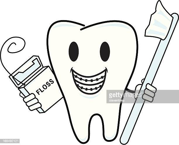 braces - tooth - dental floss stock illustrations, clip art, cartoons, & icons