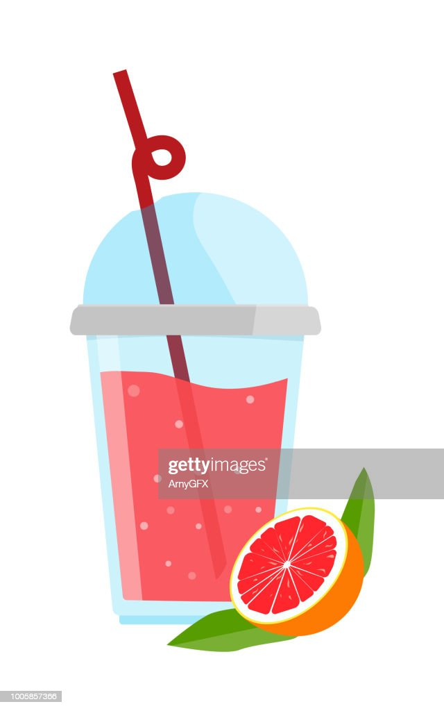 Bracing grapefruit Fruto Chino in a cup with a straw. Vector illustration.