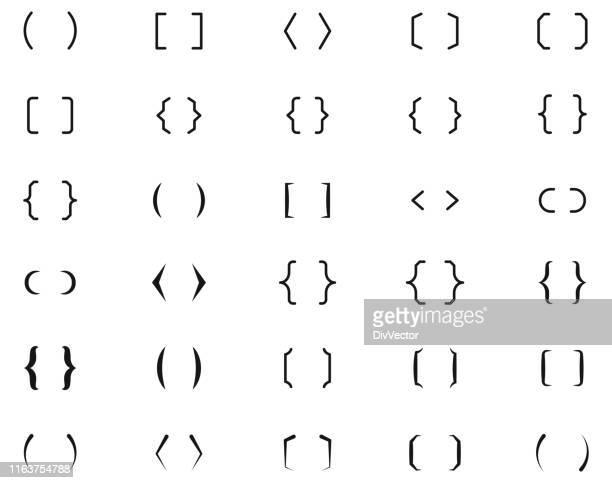 ilustraciones, imágenes clip art, dibujos animados e iconos de stock de los corchetes establecen iconos - símbolo ortográfico