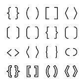 Brackets set. typography symbols. Line with editable stroke