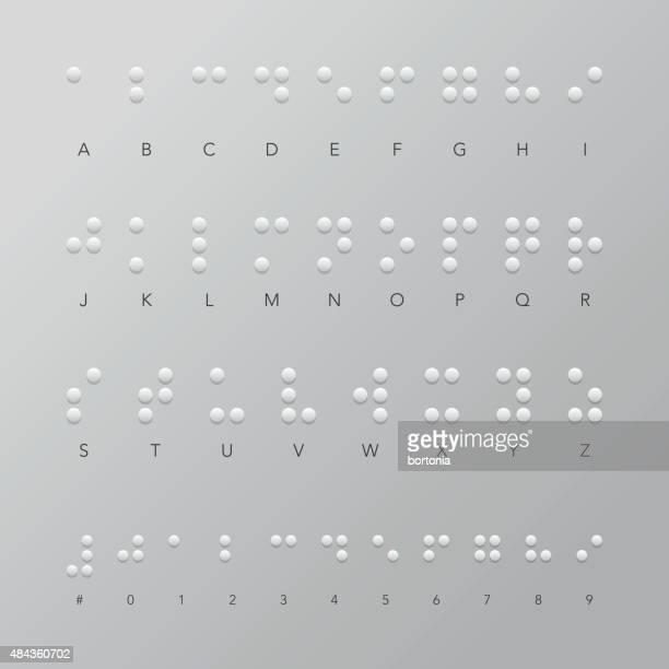 braille alphabet and numerical set - blindness stock illustrations, clip art, cartoons, & icons