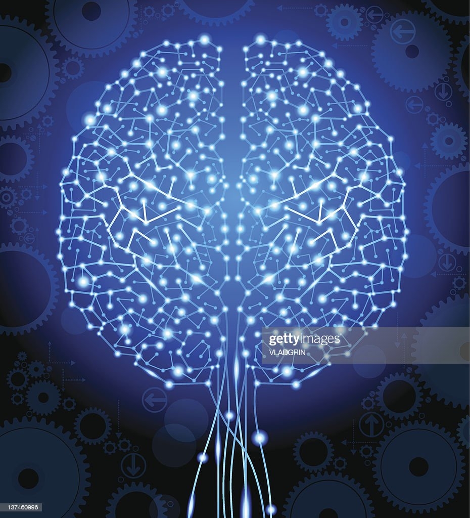 brain and  circuit board in the form of a tree