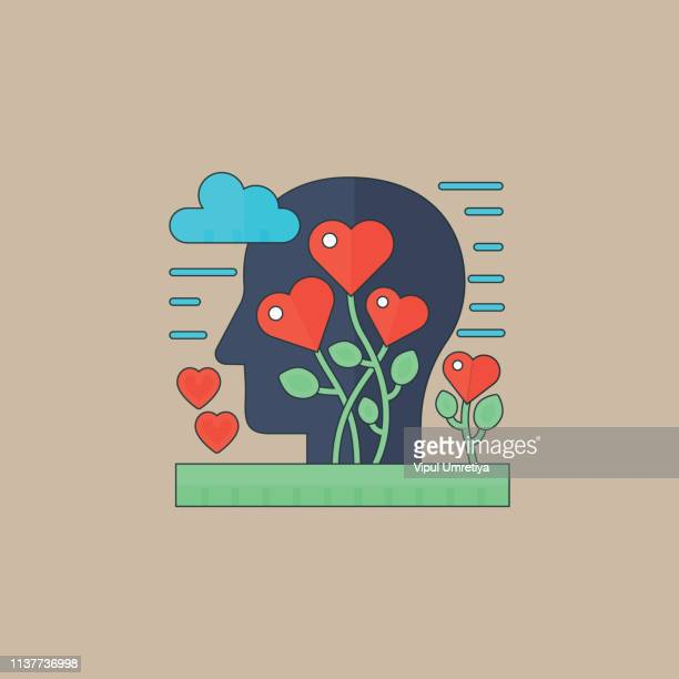 brain and heart - passion stock illustrations