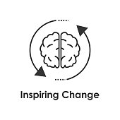 brain, arrow, inspiring change icon with name